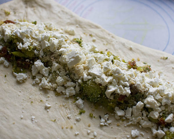 Stuffed Broccoli Bread w/ Feta & Sun-dried Tomatoes