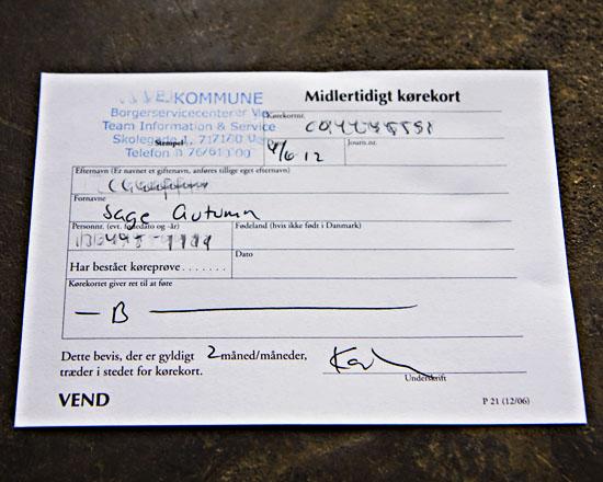 Temporary Danish Driver's License