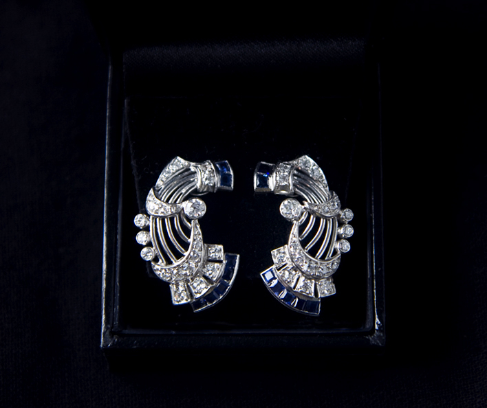 I had a blue Christmas… Art Deco diamond & sapphire earrings!