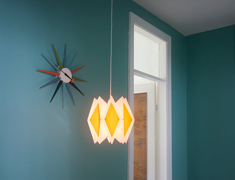 1960s Ceiling Lamp & George Nelson Sunburst Clock