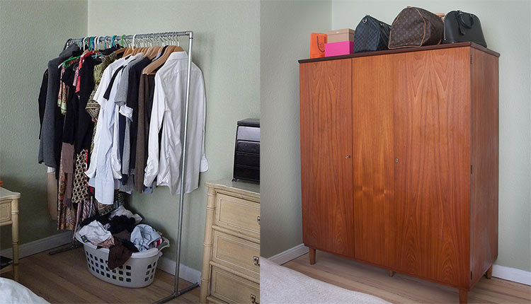 Small Space Living Storage Before & After
